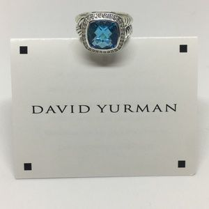 David Yurman 11mm Albion Blue Topaz Ring Size 8